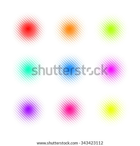Set of Circle Colorful lined Dot Banners. Noisy Round concepts. Dotwork Halftone Backgrounds. Vector Illustration. - stock vector