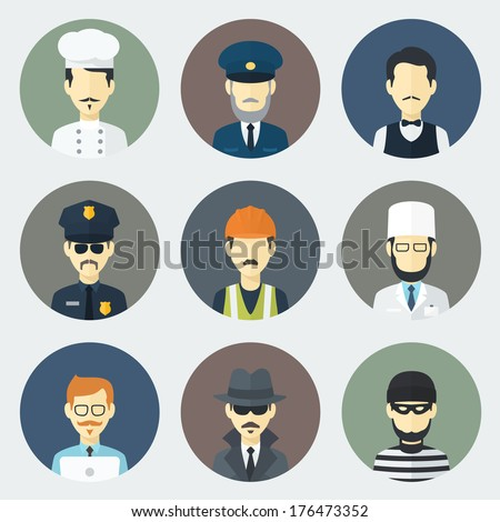 Set of Circle Flat Icons with Man of Different Professions - stock vector