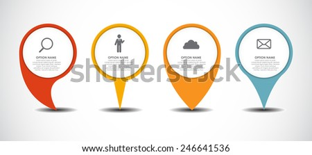 Set of Circle Pointers Infographic Business Element. Vector Illustration. EPS10 - stock vector