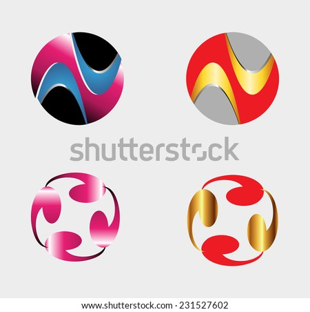 Set of circle round logos useful for your design - stock vector