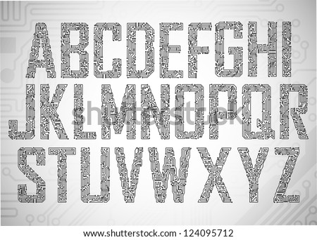 Set of Circuit board style letters - stock vector
