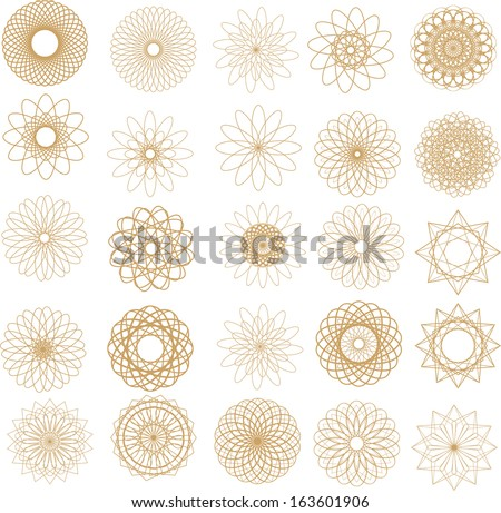 set of 25 circular design elements spirograph. Vector templates, spirograph pattern,  circular spiral, line, star, flower, ornament, shape, twirl - stock vector