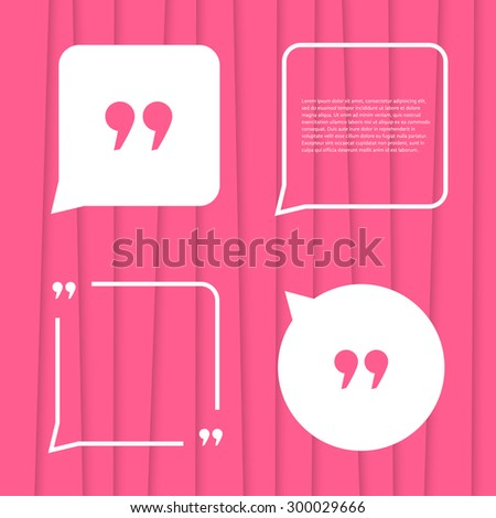 set of citation on pink striped background. concept of forum, blogging, messenger, poster, expression, conversation, abstract backdrop, punctuation. flat style trend modern design vector illustration - stock vector