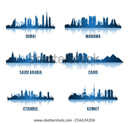 Set of Cities in Middle East Famous Buildings. Editable Vector Illustration  - stock vector