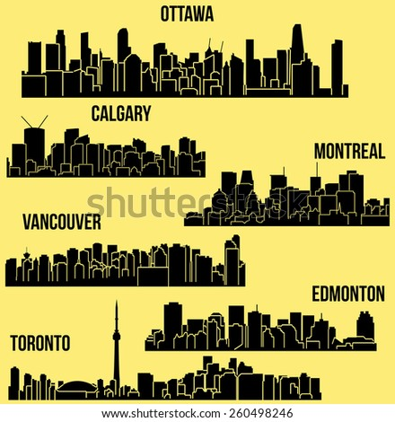 Set of 6 Cities of Canada (Ottawa, Montreal, Toronto, Calgary, Vancouver, Edmonton)  - stock vector