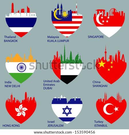 Set of cities skylines in heart shape. Flags, countries. Vector illustration. Bangkok; Thailand, Kuala Lumpur, Singapore, India, Delhi, Dubai, Emirates, China, Shanghai, Jerusalem, Istanbul, Hong Kong - stock vector