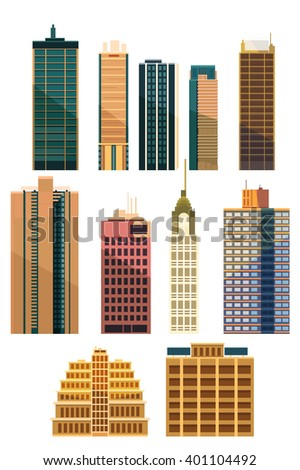 Set of city buildings and houses .Made in flat style Compatible with Adobe Illustrator CS and above. The vector is 100% editable.Easy to change color!