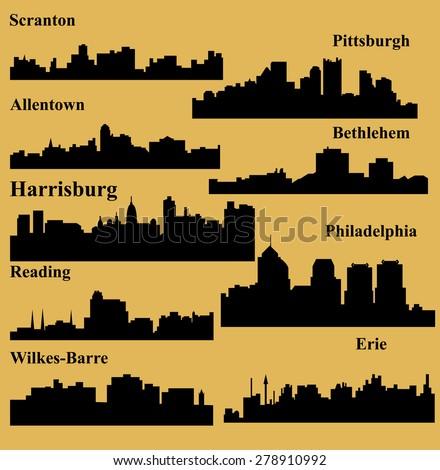 Set of 9 city in Pennsylvania ( Harrisburg, Pittsburgh, Philadelphia, Allentown, Erie, Bethlehem, Scranton, Reading, Wilkes-Barre ) - stock vector