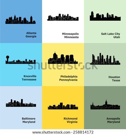 Set of 9 City silhouette (Baltimore, Knoxville, Houston, Philadelphia, Minneapolis, Salt Lake City, Richmond, Atlanta, Annapolis) - stock vector