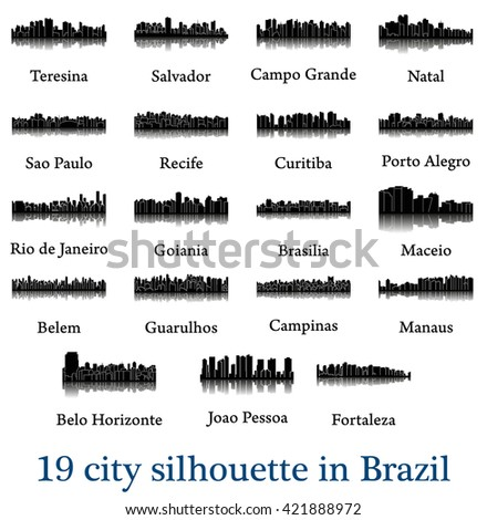 Set of 19 city silhouette in Brazil ( Rio de Janeiro, Salvador, Sao Paulo, Belem, Teresina, Natal, Campo Grande, Recife, Curitiba, Maceio, Goiania, Fortaleza, Manaus, Belo Horizonte, Campinas, ) - stock vector