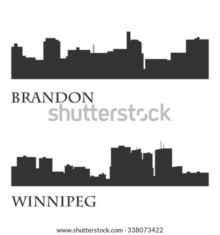 Set of 2 City silhouette in Manitoba, Canada ( Winnipeg, Brandon ) - stock vector