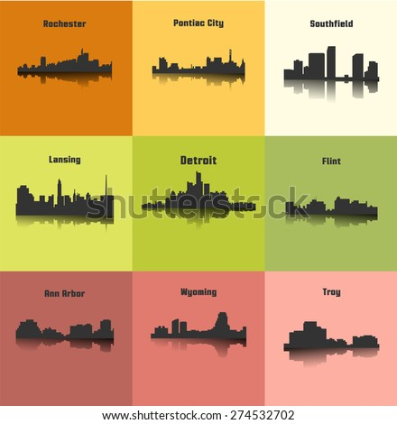 Set of 9 city silhouette in Michigan ( Rochester, Pontiac City, Detroit, Southfield, Lansing, Flint, Troy, Ann Arbor, Wyoming ) - stock vector