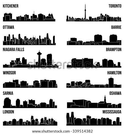 Set of 12 City Silhouette in Ontario, Canada ( Toronto, London, Barrie, Kitchener, Ottawa, Brampton, Windsor, Niagara Falls, Oshawa, Sarnia, Hamilton, Mississauga ) - stock vector