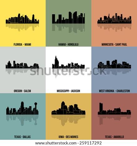 Set of 9 City silhouette (Miami, Honolulu, Saint Paul, Salem, Jackson, Charleston, Dallas, Des Moines, Amarillo) - stock vector