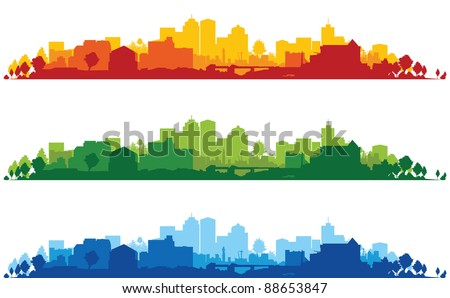 set of cityscape backgrounds - stock vector