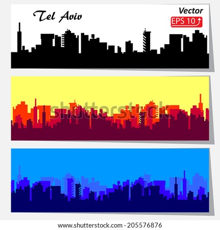set of cityscape backgrounds City Skylines silhouette black white red blue banners isolated on white background vector - stock vector