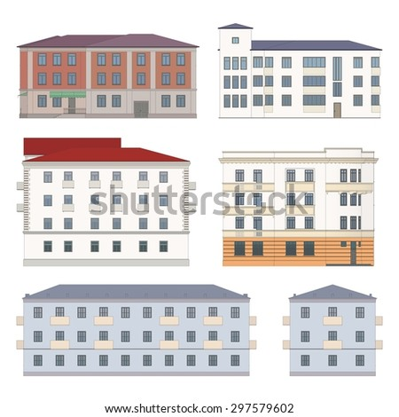 Set of classic historical facades of european city architecture (colored, highly detailed, isolated) - stock vector