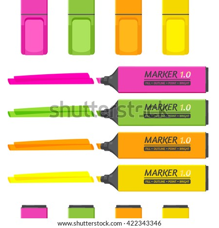 Set of 4 classic markers with highlighter elements isolated on white. Vector flat style. Highlighters are transparent.