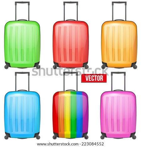 Set of Classic orange plastic luggage suitcase for air or road travel. Vector Illustration isolated on white background. - stock vector