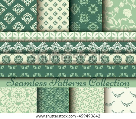 Set of 8 classic patterns, seamless templates. Lush meadow colored palette. Borders collection
