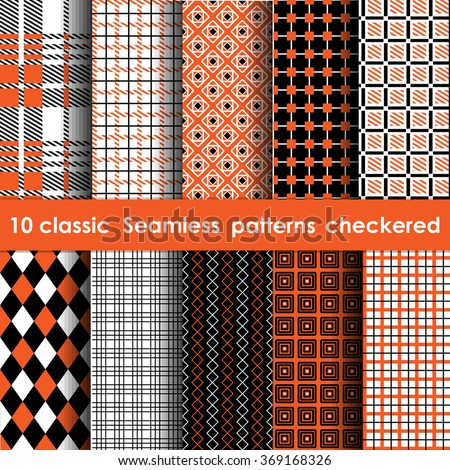 Set of 10 classic seamless checkered patterns. White, orange and black colors - stock vector
