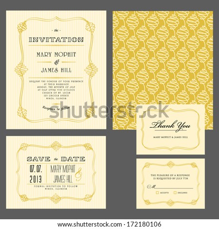 Set of classic wedding invitations and announcements - stock vector