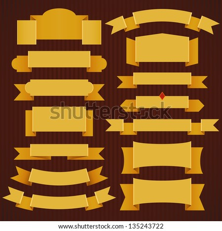 Set of classic yellow ribbons