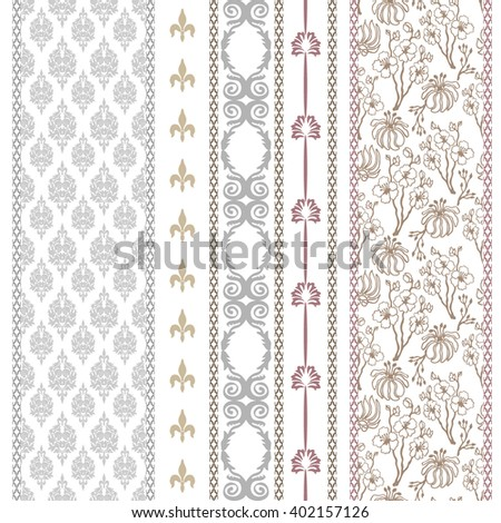 Set of classical damask borders with bohemian motifs. Hand drawn seamless floral pattern, baroque ornaments, French royal lilies. Vintage textile collection. Golden, silver shadows on white.   - stock vector