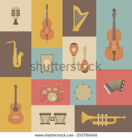 set of classical music instrument icon, retro style - stock vector