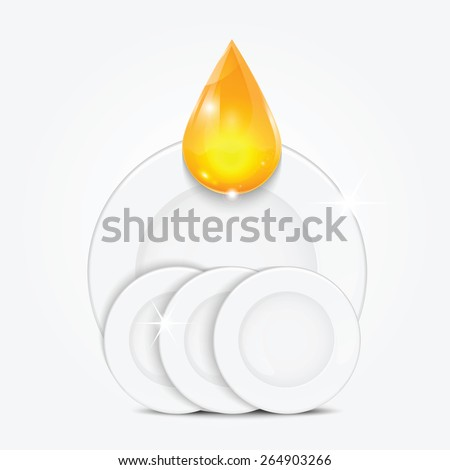 set of clean dishes and yellow drop.dishwashing liquid on the background plates .vector - stock vector