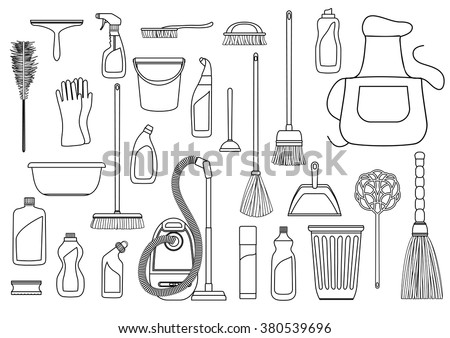 Set of cleaning supplies. Tools of housecleaning. Vector black and white outline - stock vector