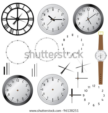 Set of clock and elements of clocks on the white background. - stock vector