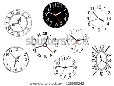 Set of clock dials for any time concept or design. Jpeg version also available in gallery - stock vector