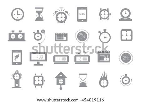 Set of 24 Clocks gray vector icons  - stock vector
