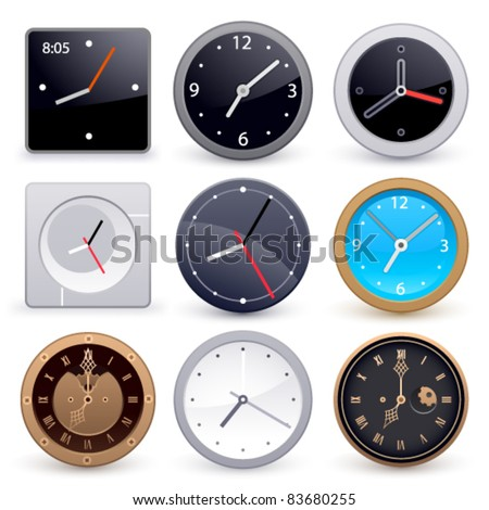 Set of clocks on a white background - stock vector