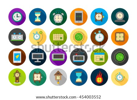 Set of 24 Clocks round vector icons  - stock vector