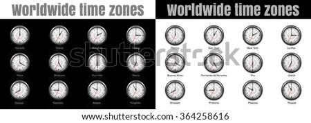 Set of clocks showing international time. Wall clock for every hours, to indicate world international time zone. Vector illustration. - stock vector