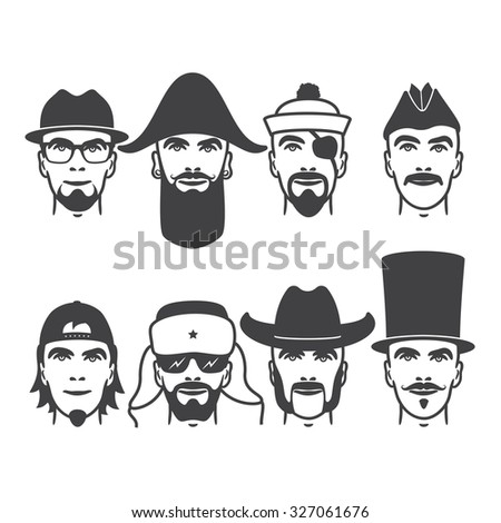 Set of close up different hats, beard and mustache style men portraits. vector illustrations - stock vector