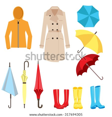 Set Clothes Accessories Rainy Weather Umbrella Stock Vector 317694305 Shutterstock