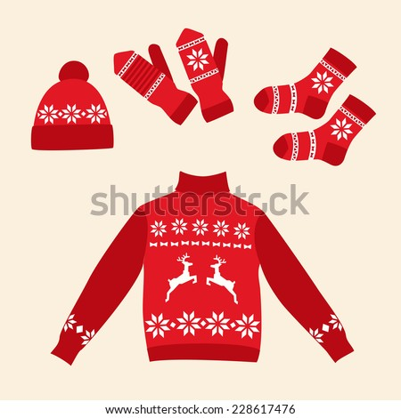 Set of clothes for the winter holidays. Vector illustration. - stock vector