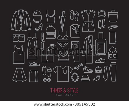 Vector Drawing Straight Lines : Set clothes icons flat style drawing stock vector