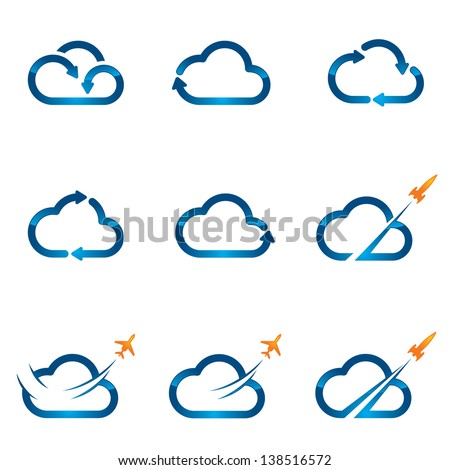 Set of Cloud icons 1 - stock vector