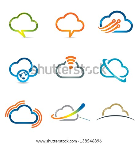 Set of cloud icons 2 - stock vector