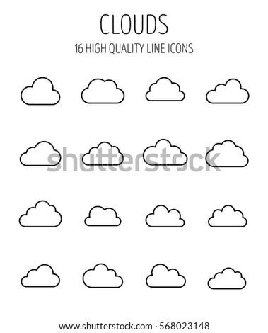 Set Cloud Icons Modern Thin Line Stock Photo Photo Vector