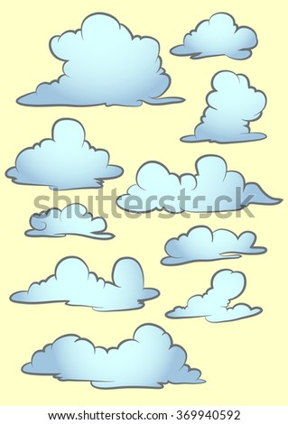 set of cloud isolated in yellow - stock vector