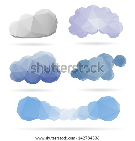 Set of clouds isolated on a white backgrounds - stock vector