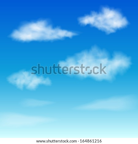 Set of Clouds on blue sky. - stock vector