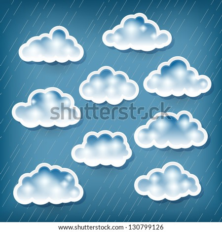 Set of clouds on rainy background