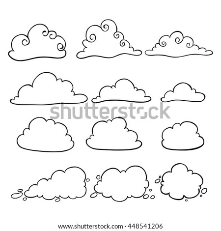 Set of clouds using doodle art on white background - stock vector