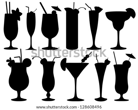 Set of cocktail glasses - stock vector